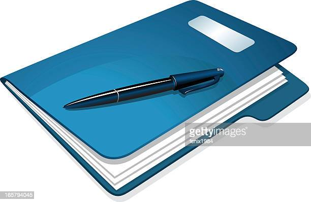 Illustration of a blue folder with papers and pen on top