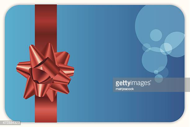 Illustration of a blue gift card with a red bow.