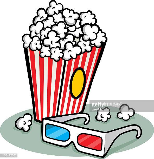 Illustration of a box of popcorn with a pair of 3D glasses