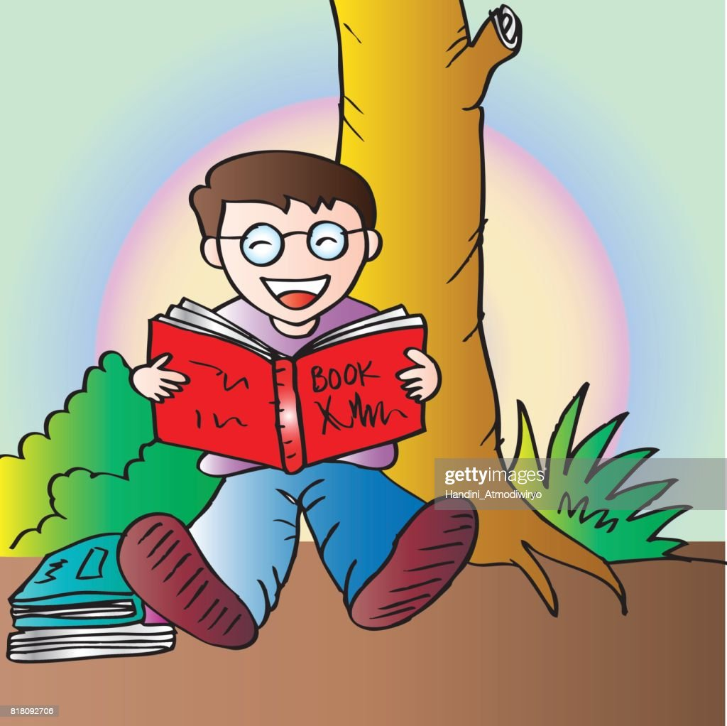 illustration of a boy reading book under the tree