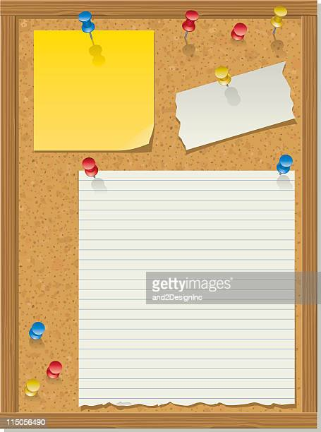 Illustration of a bulletin board with three papers tacked on