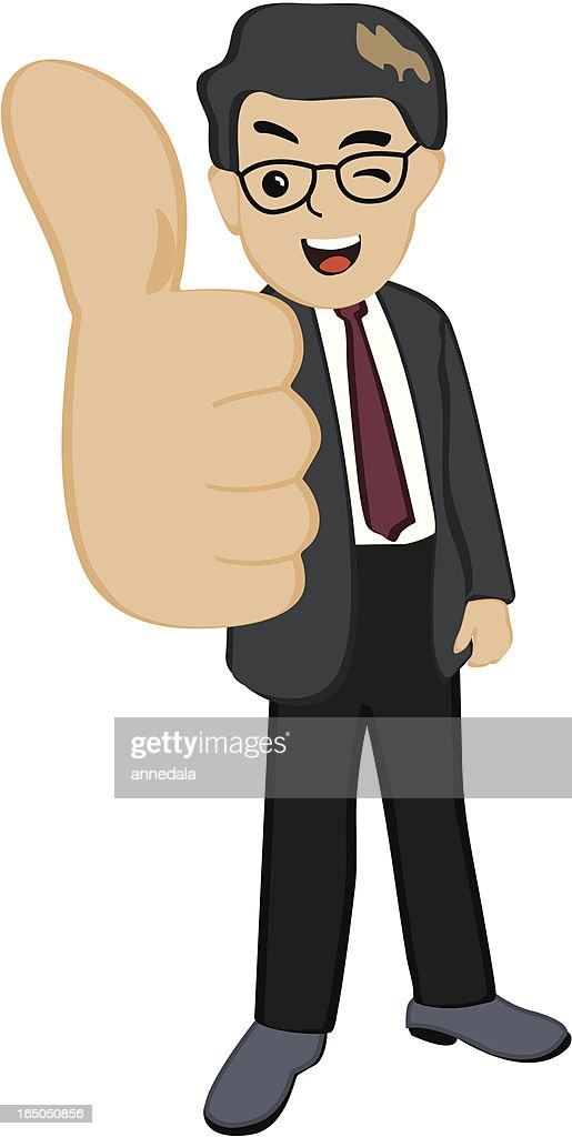 Illustration of a businessman giving a thumbs up
