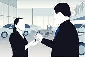 Illustration of a car salesperson handing keys to a woman
