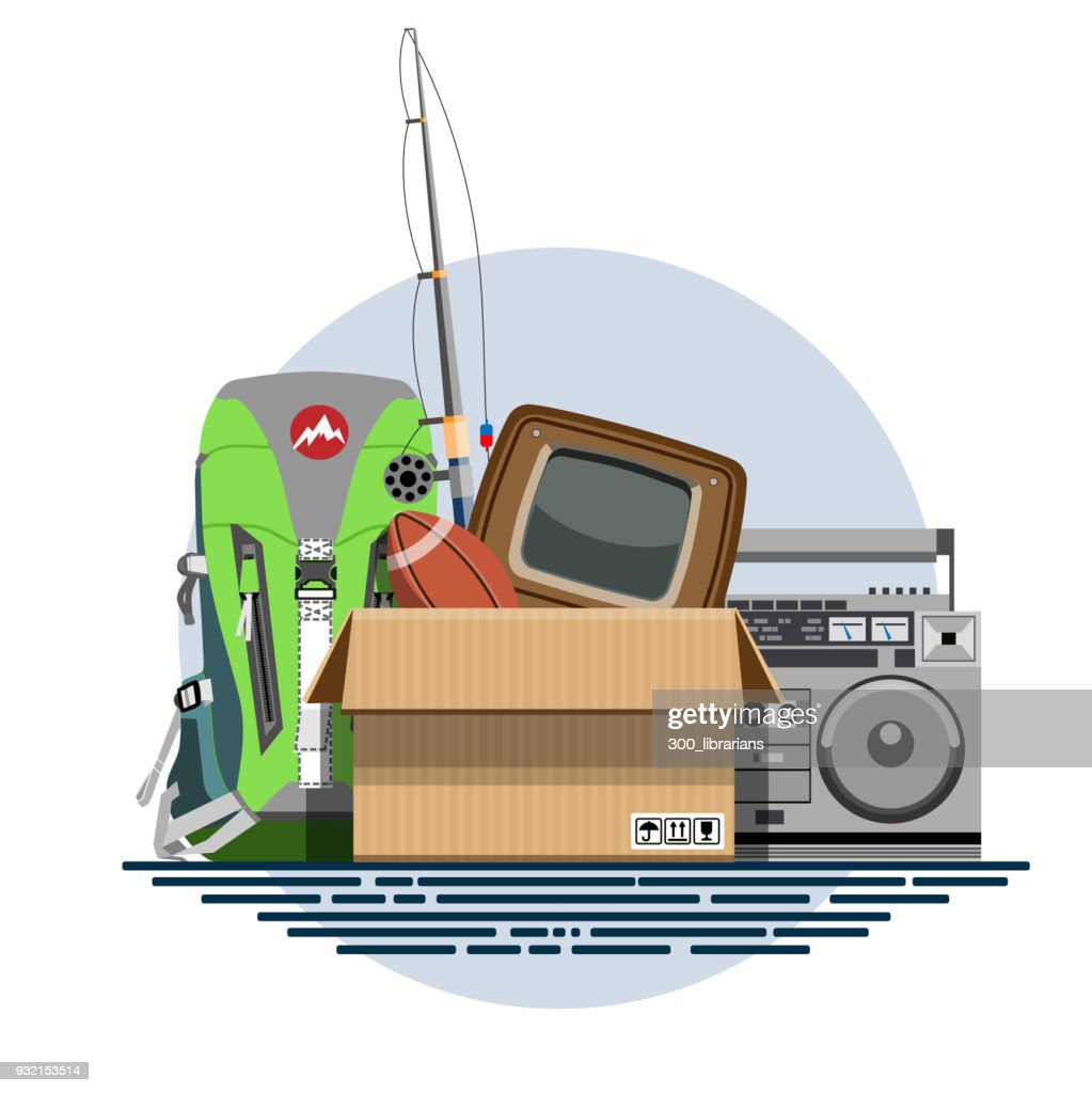 Illustration of a cardboard box with old things