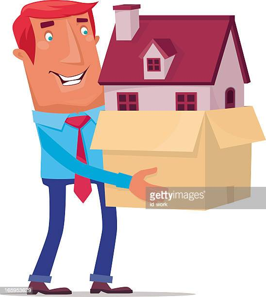 Illustration of a cartoon man carrying a house inside a box