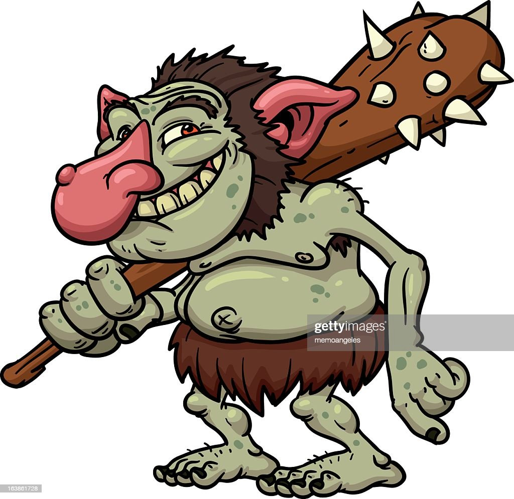 Illustration of a cartoon troll holding a mallet