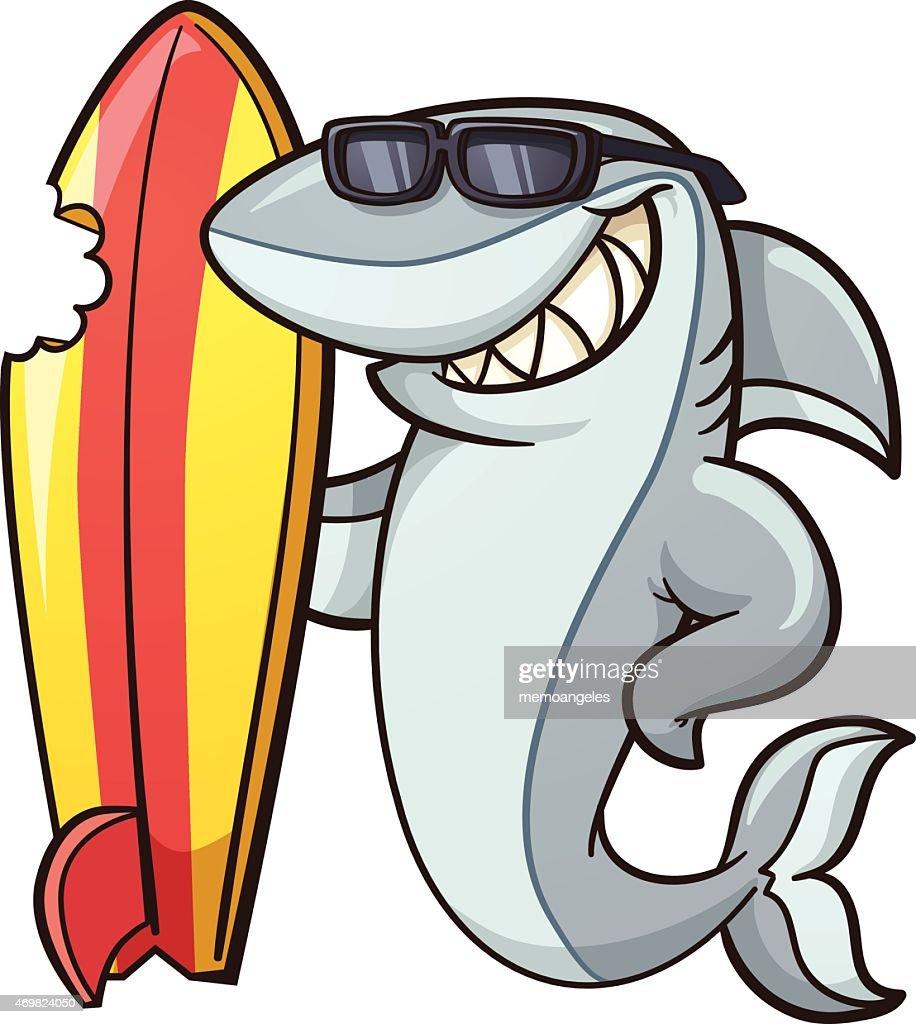 Illustration of a cheeky cartoon shark with bitten surfboard