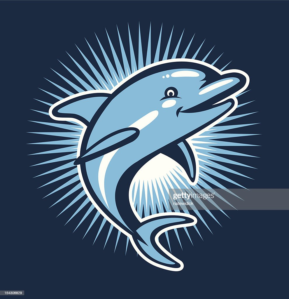 Illustration of a cheerful blue dolphin on blue starburst