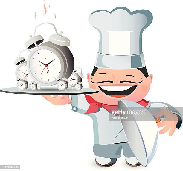 illustration of a chef carrying alarm clocks - breakfast cartoon stock illustrations