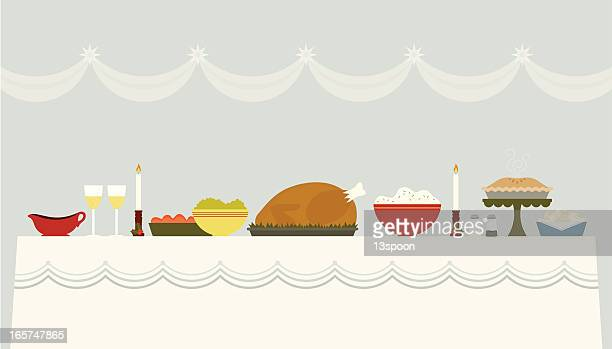Illustration of a Christmas banquet table