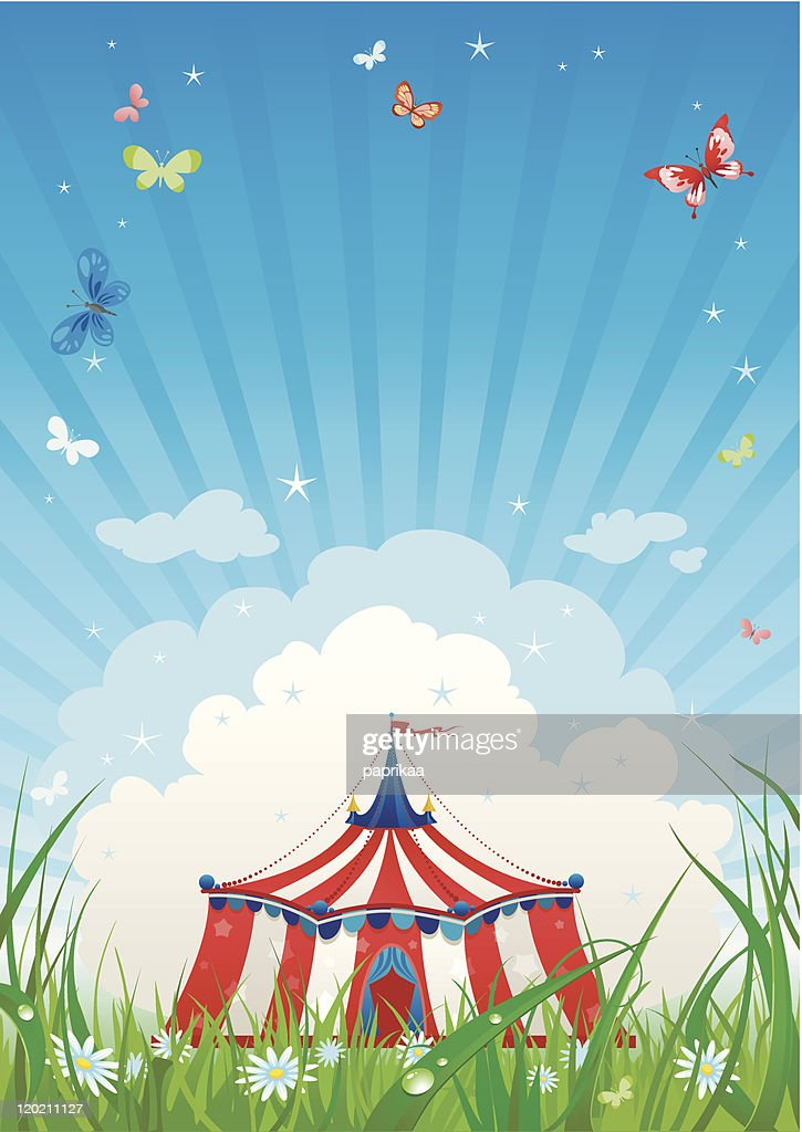 Illustration of a circus tent under a blue striped sky