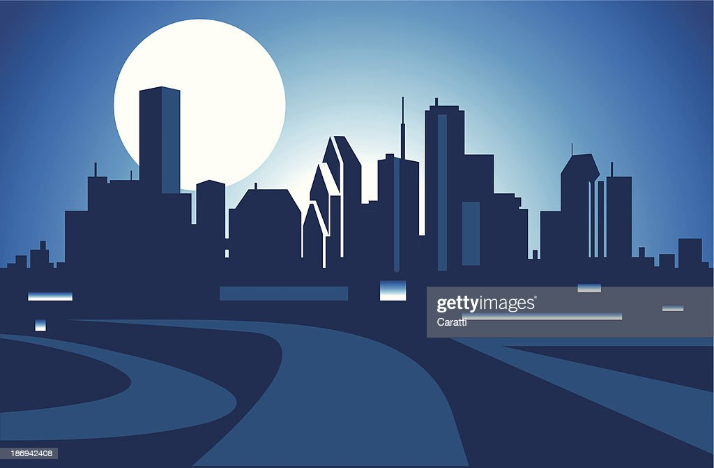Illustration of a city skyline in front of a full moon