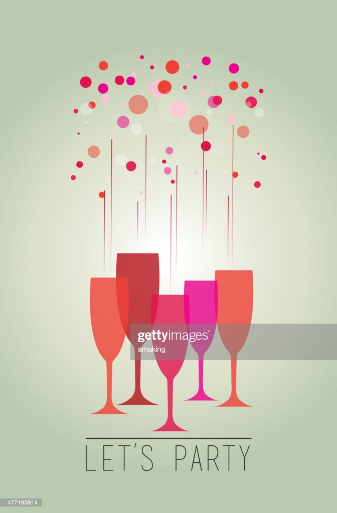 Illustration of a colorful bubbles and glasses – Let's party