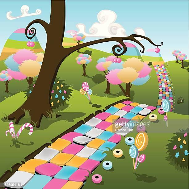 ilustraciones, imágenes clip art, dibujos animados e iconos de stock de candyland - fantasía