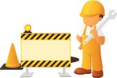 A illustration of a construction worker and a sign