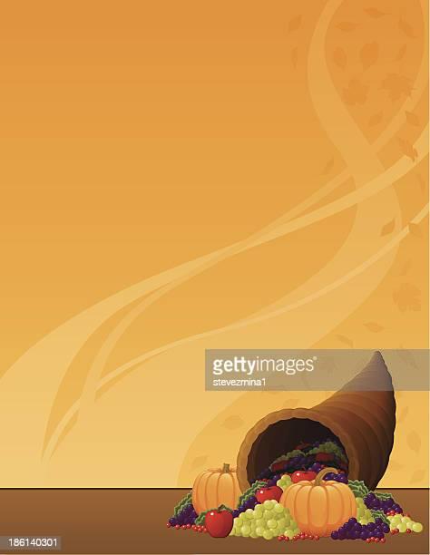 イラストレーションのコルヌコピアには、オレンジ色を背景にしています。