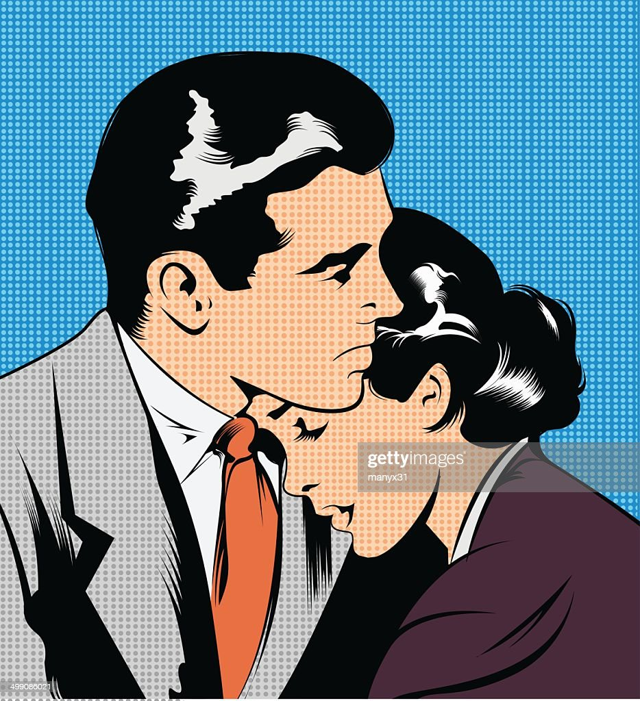 Illustration of a couple embracing