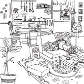 Illustration of a cozy apartment