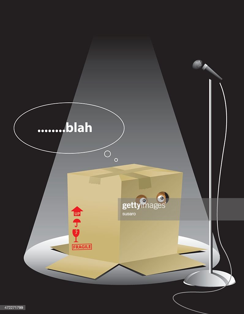 Illustration of a creature in a box with the text blah : stock illustration