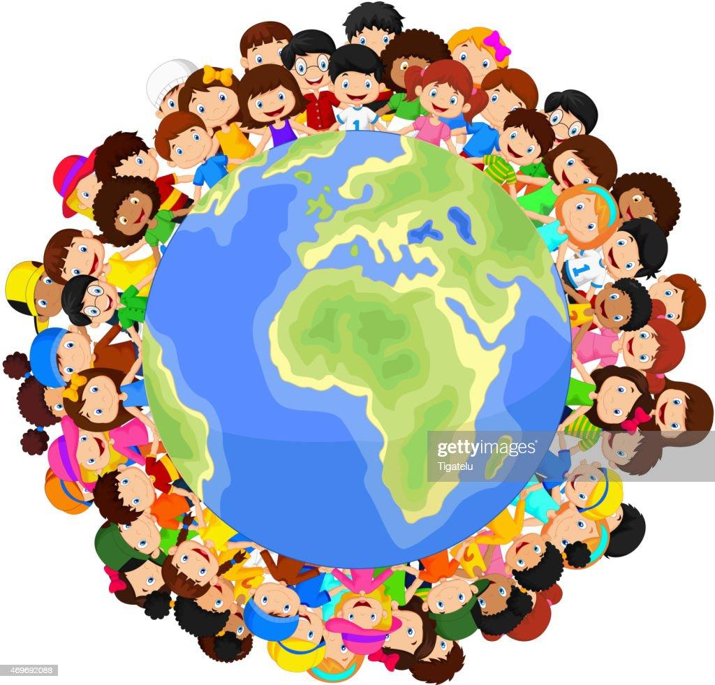 Multiculturelle Enfants Dessin Animé Sur La Planète Terre Clipart