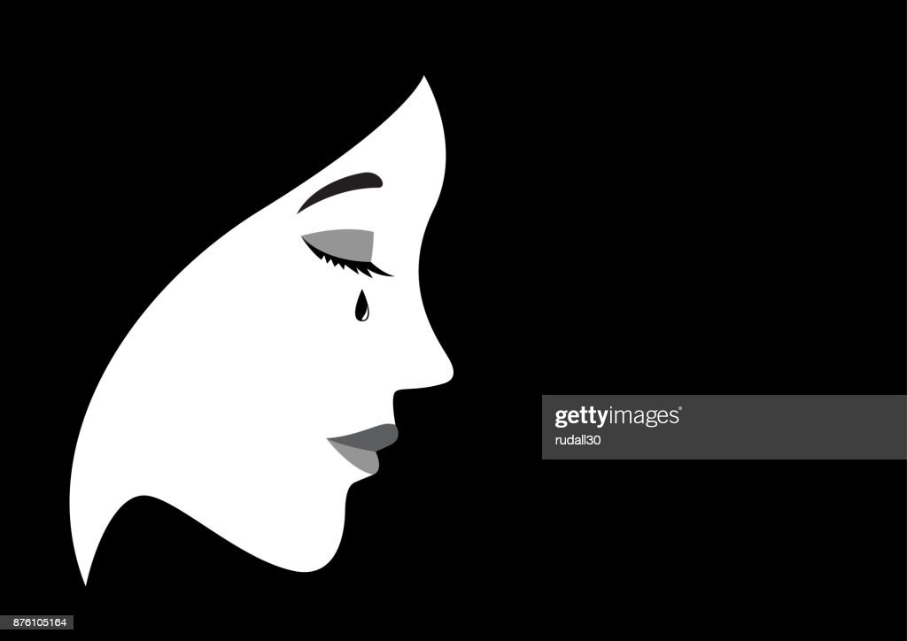 Illustration of a crying woman