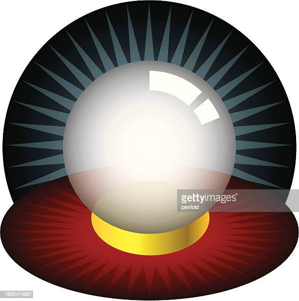 Illustration of a crystal ball on a red and yellow mat