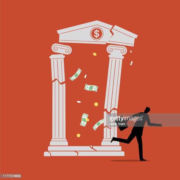 illustration of a customer running away as his bank collapses - stock market crash stock illustrations
