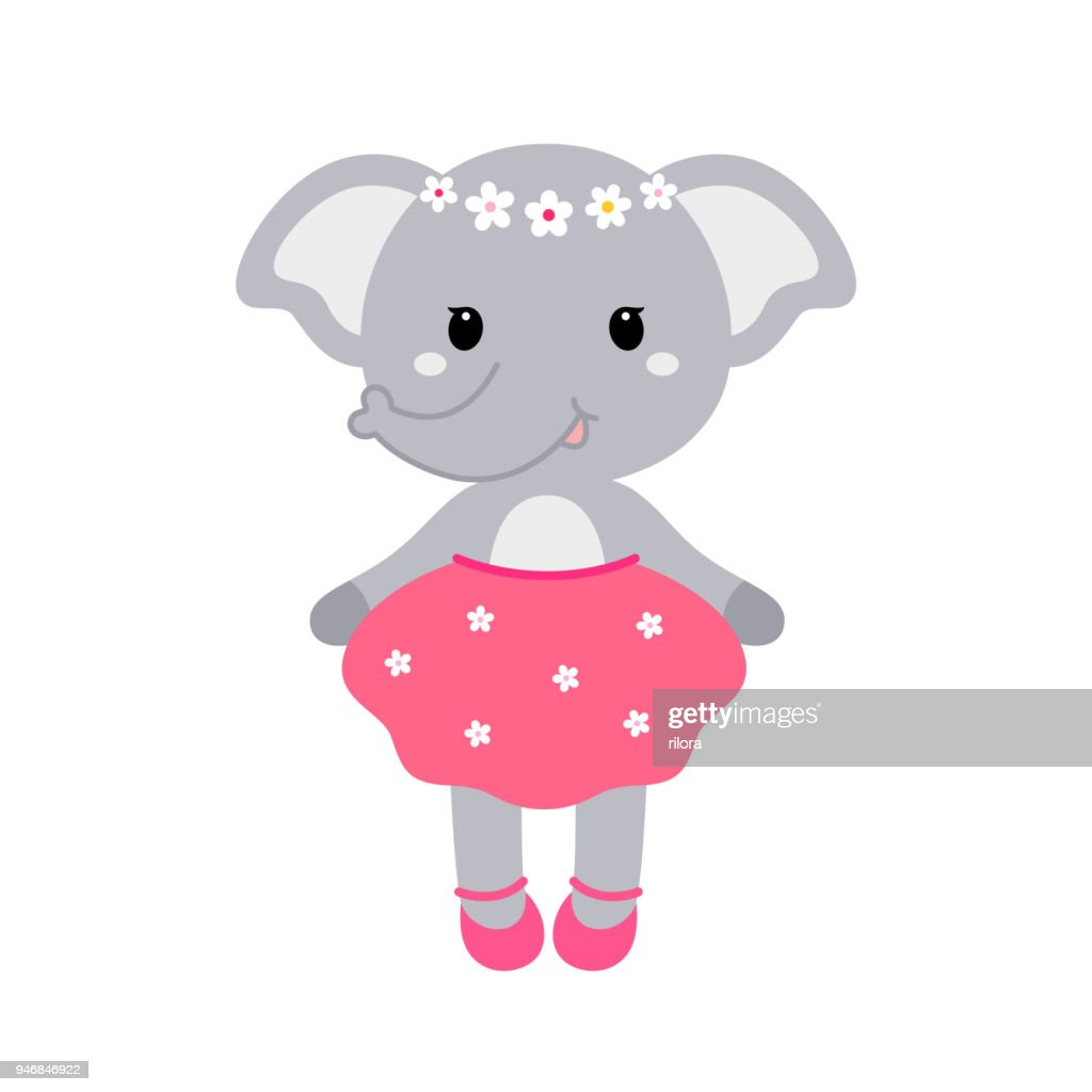 Illustration of a cute funny elephant girl in a dress. Concept for children print.