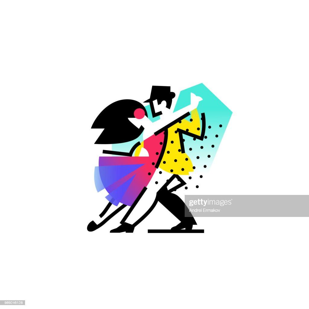 Illustration of a dancing man and woman. Icon ballroom, sports dances. Tango, waltz, Latin American dances. Vector flat illustration. Logo for the dance studio. Abstract image.