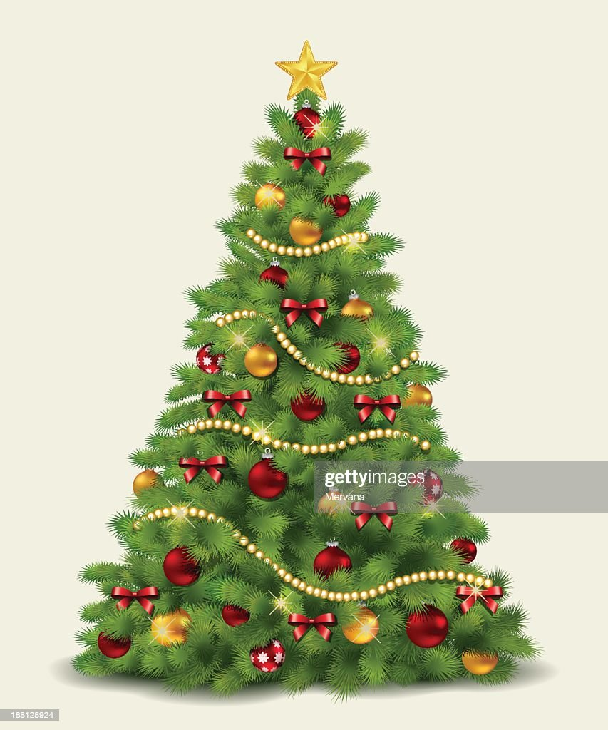 Illustration of a decorated Christmas tree