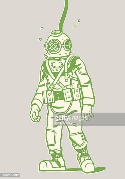 illustration of a deep sea diver - diving stock illustrations