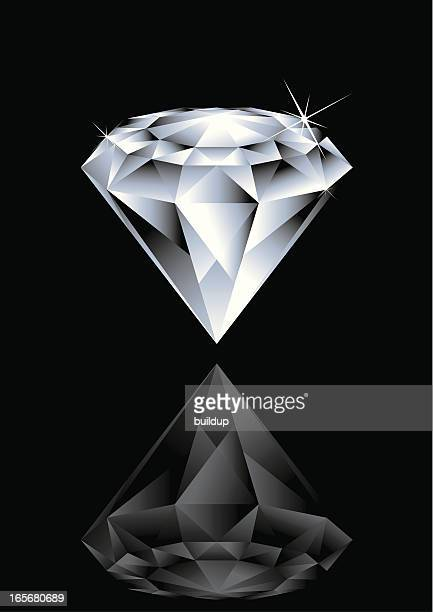 stockillustraties, clipart, cartoons en iconen met illustration of a diamond and its reflex on black background - diamant