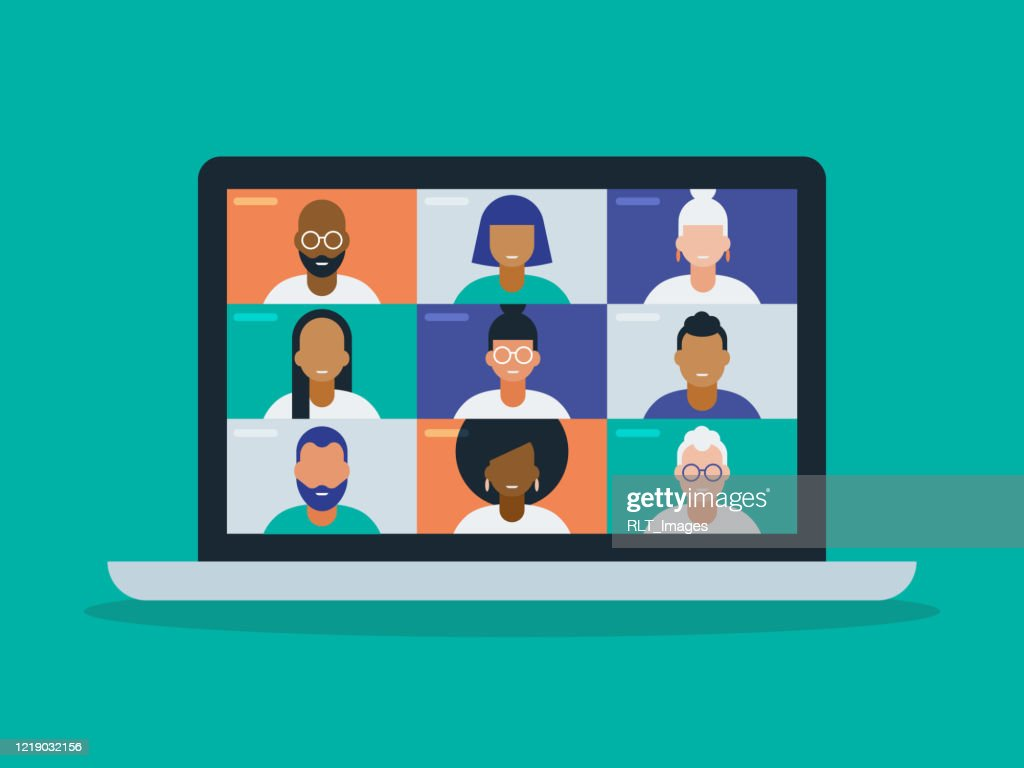 Illustration of a diverse group of friends or colleagues in a video conference on laptop computer screen : stock illustration