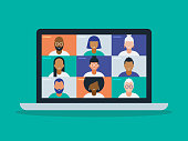 Illustration of a diverse group of friends or colleagues in a video conference on laptop computer screen