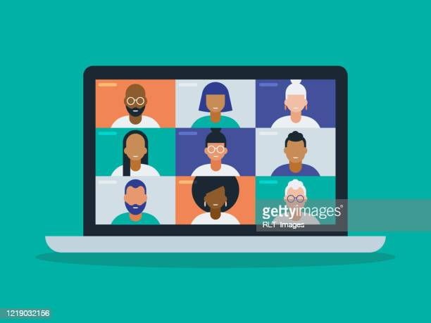 illustration of a diverse group of friends or colleagues in a video conference on laptop computer screen - discussion stock illustrations