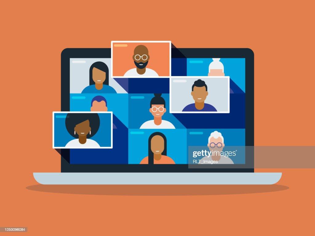 Illustratie van een diverse groep vrienden of collega's in een videoconferentie op laptopcomputerscherm : Stockillustraties