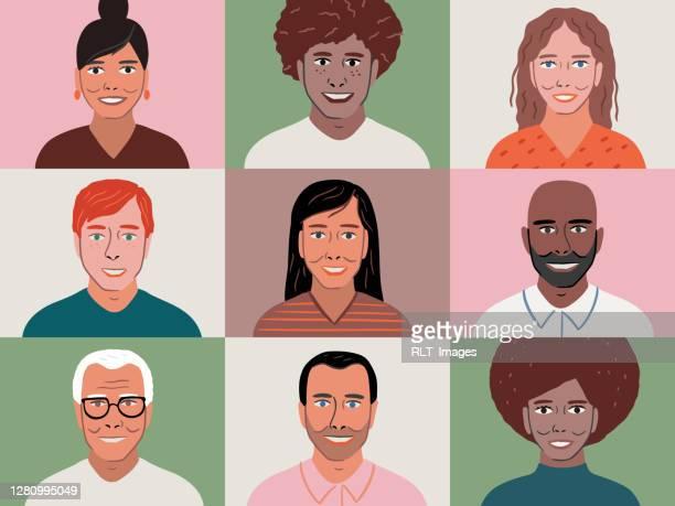 illustrazioni stock, clip art, cartoni animati e icone di tendenza di illustrazione di un gruppo eterogeneo di amici o colleghi in una videoconferenza sullo schermo del dispositivo - afro americano