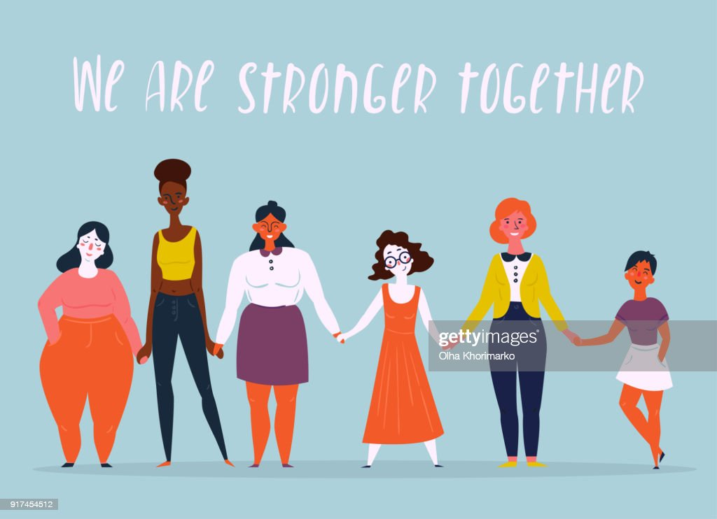 Illustration of a diverse group of women. Feminine