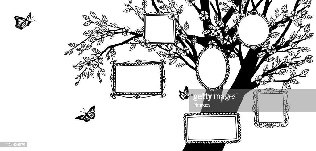 Illustration of a family tree, black and white drawing with empty frames and butterflies