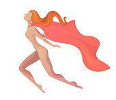Illustration of a flying superhero woman in modern style with cloak. Elegant textural stylization of the girl.