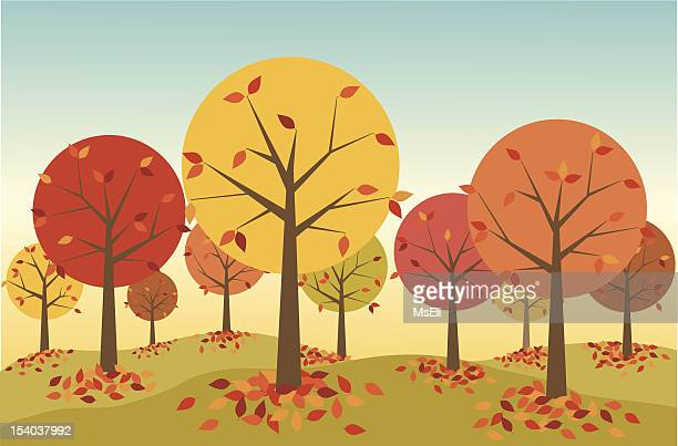 illustration of a forest in autumn with leaves falling - bare tree stock illustrations