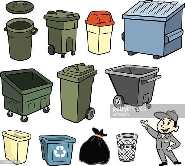 a illustration of a garbage man and trash cans - wastepaper basket stock illustrations, clip art, cartoons, & icons