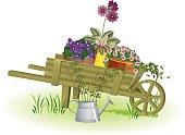 Illustration of a gardening wheelbarrow with flowers inside