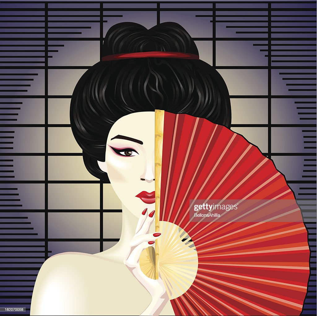 Illustration of a geisha hiding behind a fan