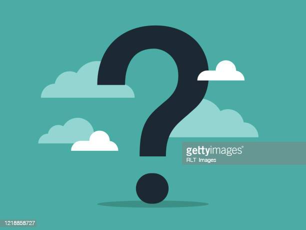 illustration of a giant question mark surrounded by clouds and sky - mystery stock illustrations
