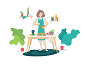 Illustration of a girl in an apron cooking in the kitchen. Vector. Flat cartoon style. Woman at cooking. Homemade healthy food. Healthy lifestyle. Cooking lessons. Poster, banner.
