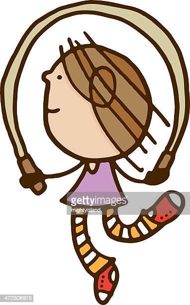illustration of a girl skipping - skipping stock illustrations, clip art, cartoons, & icons