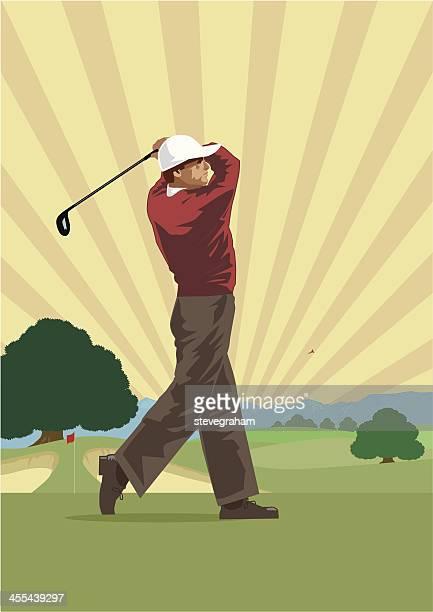illustration of a golfer taking shot on green - golf swing stock illustrations, clip art, cartoons, & icons