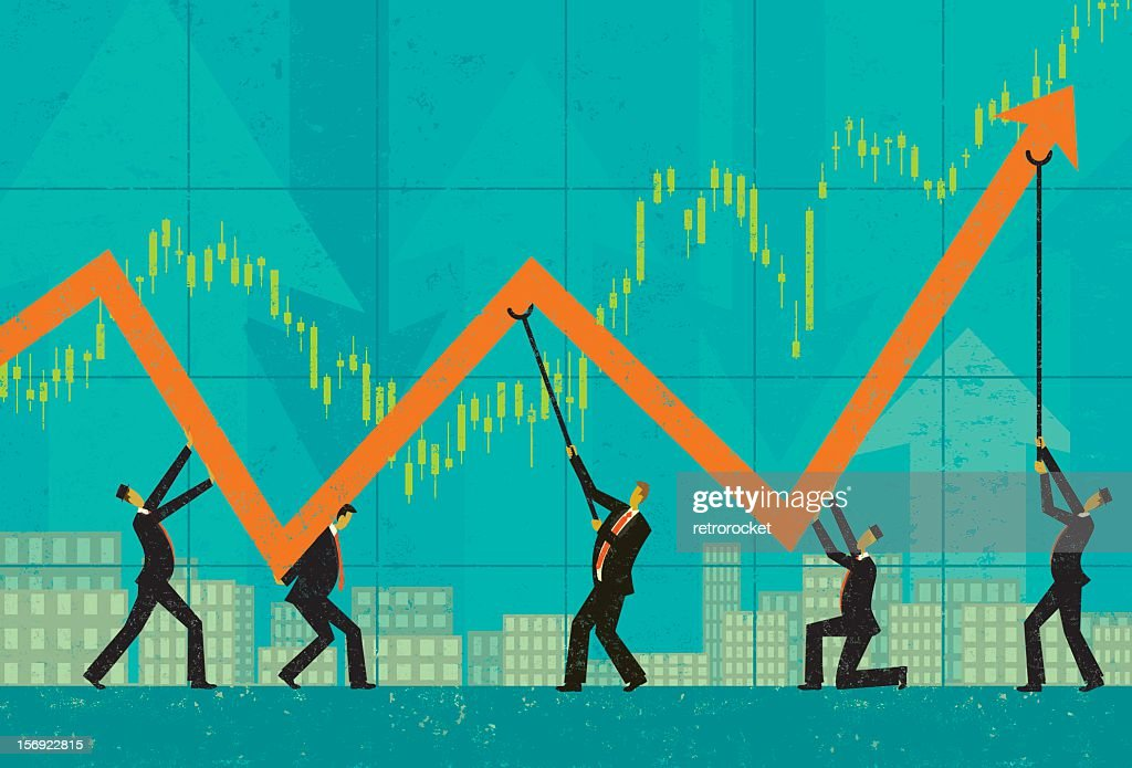 A illustration of a graph and men maintaining profits : Vector Art