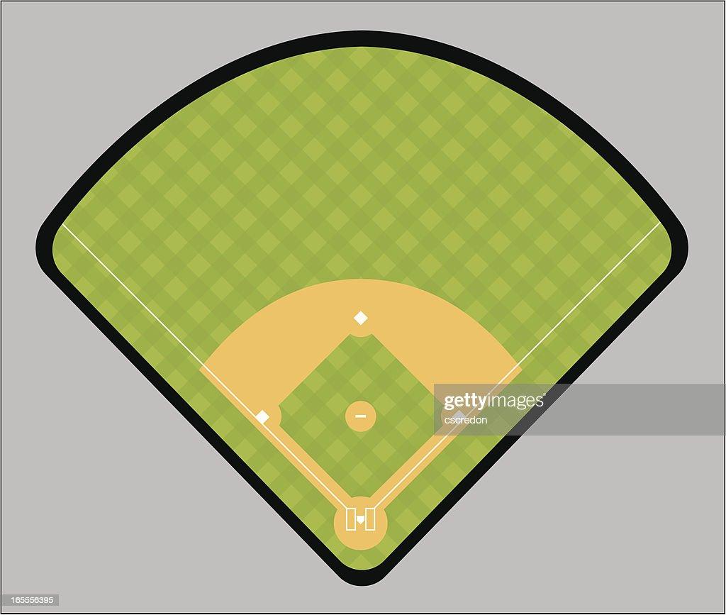 Illustration of a green and tan baseball field